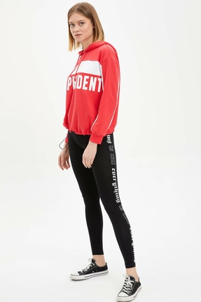 DeFacto Kadın Siyah Slim Fit Şerit Detaylı Tayt M9861AZ.20SP.BK27