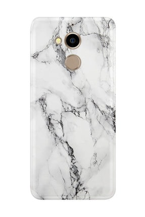 Kılıfland General Mobile Gm8 Kılıf Silikon Desenli Resimli Lüx Kapak Fragile White Marble Mermer