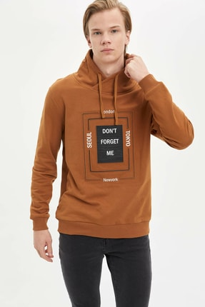 DeFacto Erkek Kahverengi Şal Yaka Slim Fit Sweatshirt N2707AZ.20SP.BN412