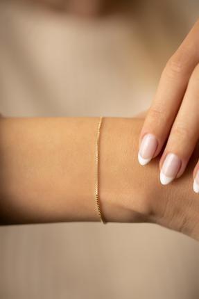 İzla Design Zincir Model Altın Kaplama Gümüş Italyan Bileklik