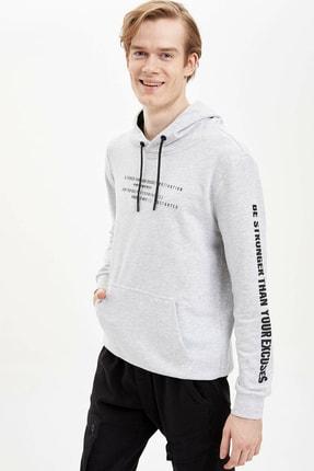 DeFacto Baskılı Kapüşonlu Spor Sweatshirt