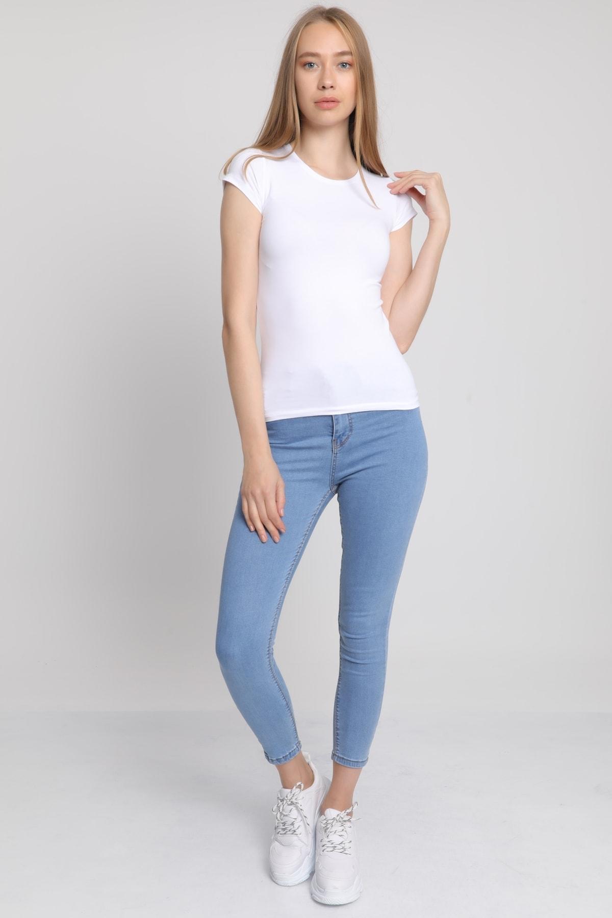 MD trend Kadın Beyaz Bisiklet Yaka T-Shirt Mdt3511 1