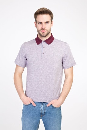 Kiğılı Erkek Mor Polo Yaka Regular Fit Desenli Tişört