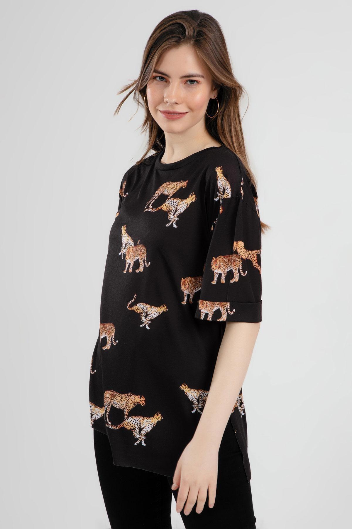 Pattaya Kadın Çita Baskılı Yırtmaçlı Kısa Kollu Tişört Y20s110-4133 2
