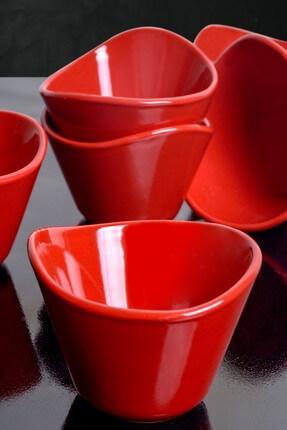Keramika Kırmızı Bayrak Tigela Çerezlik / Sosluk 11 Cm 6 Adet