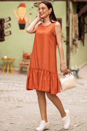 armonika Kadın Kiremit Kolsuz Eteği Fırfırlı Elbise ARM-18Y001156
