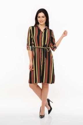 Pitti Kadın Kiremit Çizgili Elbise 51065
