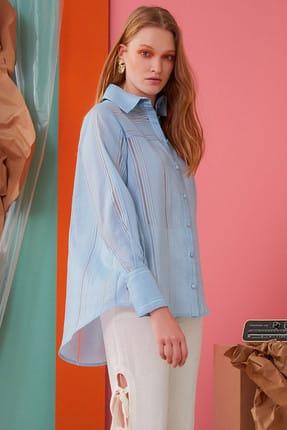 GIZIA CASUAL Kadın Çizgi Detaylı Mavi Gömlek M19YBQ0051TMQ