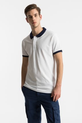 Ltb Erkek  Beyaz Polo Yaka T-Shirt 012198452060880000