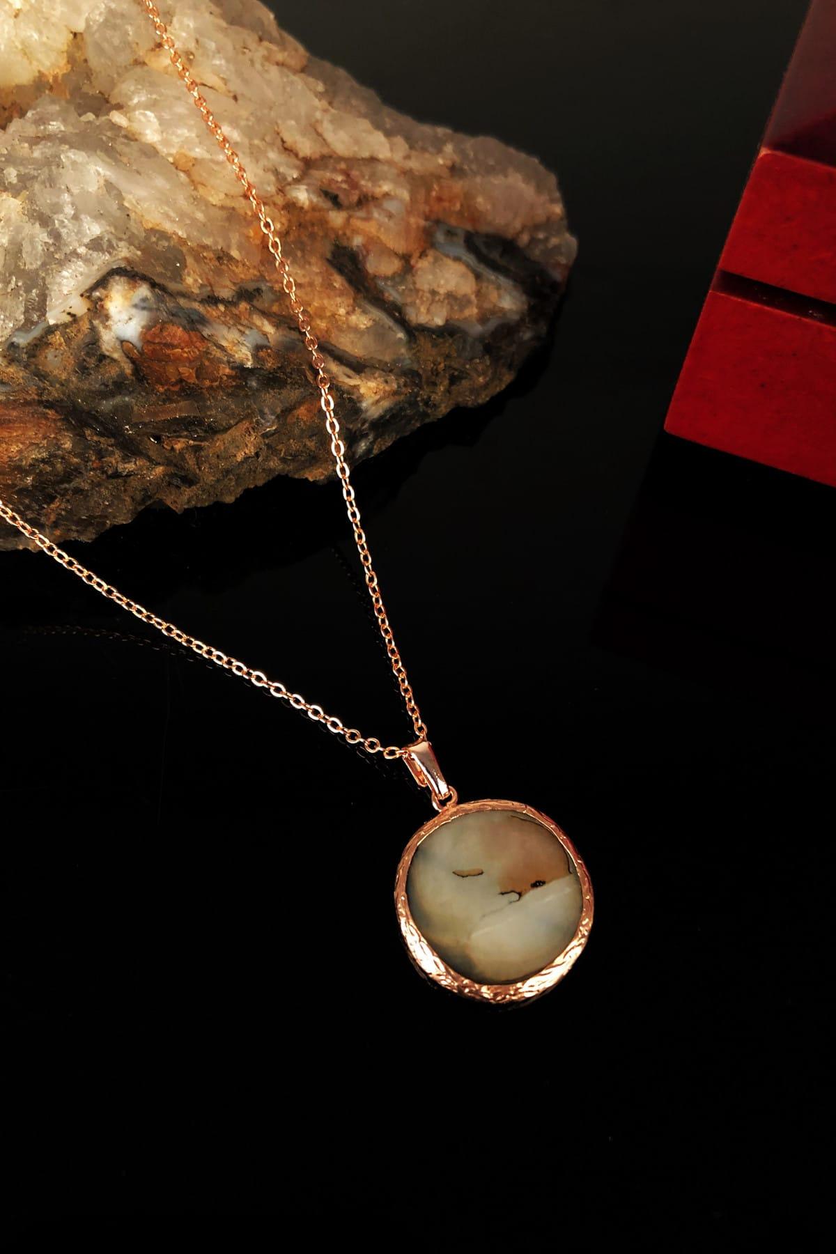 Dr. Stone Kadın Sedef Taşı Rose Altın Kaplama Kolye KRB320 1