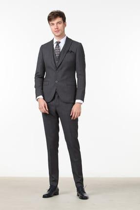 Ramsey Desenli Dokuma Yelekli Takım Elbise - RP10109201