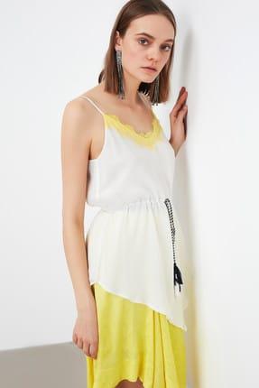 İpekyol Kadın Kırık Beyaz Kırık Dantel Mixli Asimetrik Bluz IS1190006243096
