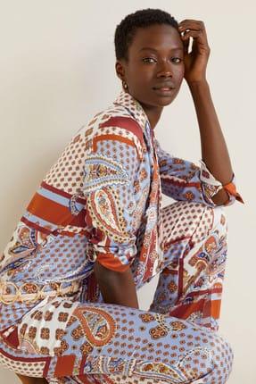 MANGO Woman Kadın Mavi Fiyonklu Desenli Bluz 43058829
