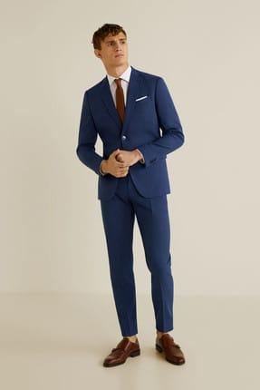 MANGO Man Erkek Mavi Dar Kesim Kumaş Pantolon 43010494