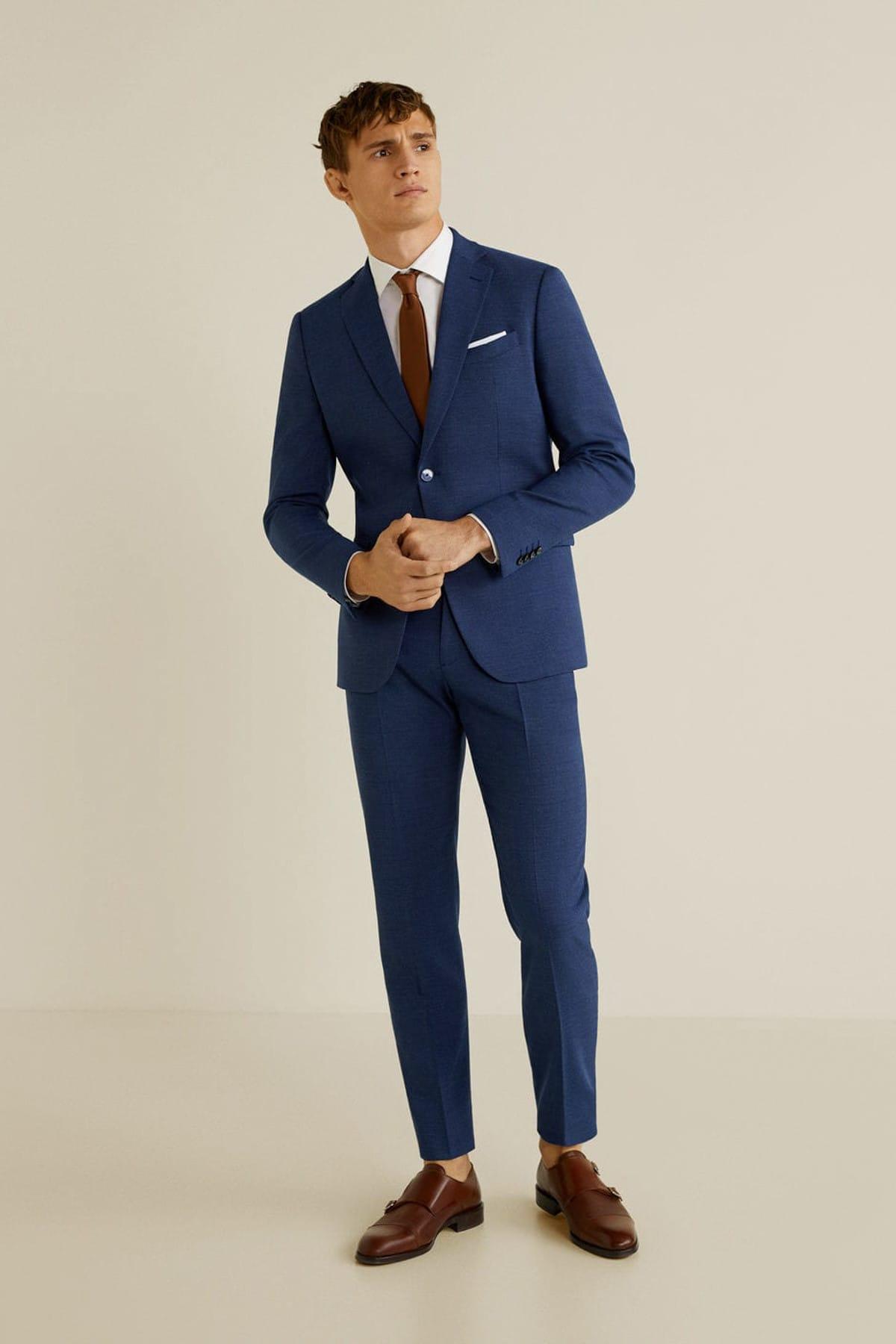 MANGO Man Erkek Mavi Dar Kesim Kumaş Pantolon 43010494 1