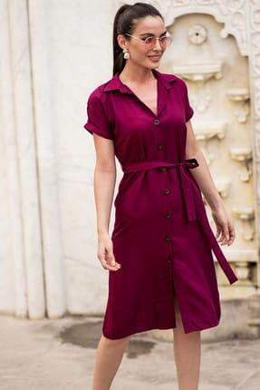 armonika Kadın Mürdüm Beli Kemerli Kısa Kol Gömlek Elbise ARM-19Y001068