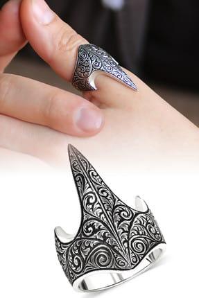 Tesbihane Özel Tasarım Eskitme Renk 925 Ayar Gümüş Okçu (Zihgir) Yüzüğü 102001214