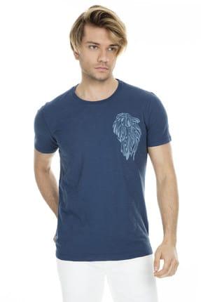Lufian Erkek Evohe Modern Grafik T- Shirt Koyu Mavi 111020001100310