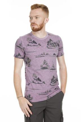 Lufian Erkek Issa Modern Grafik T- Shirt Koyu Mor 111020016100860