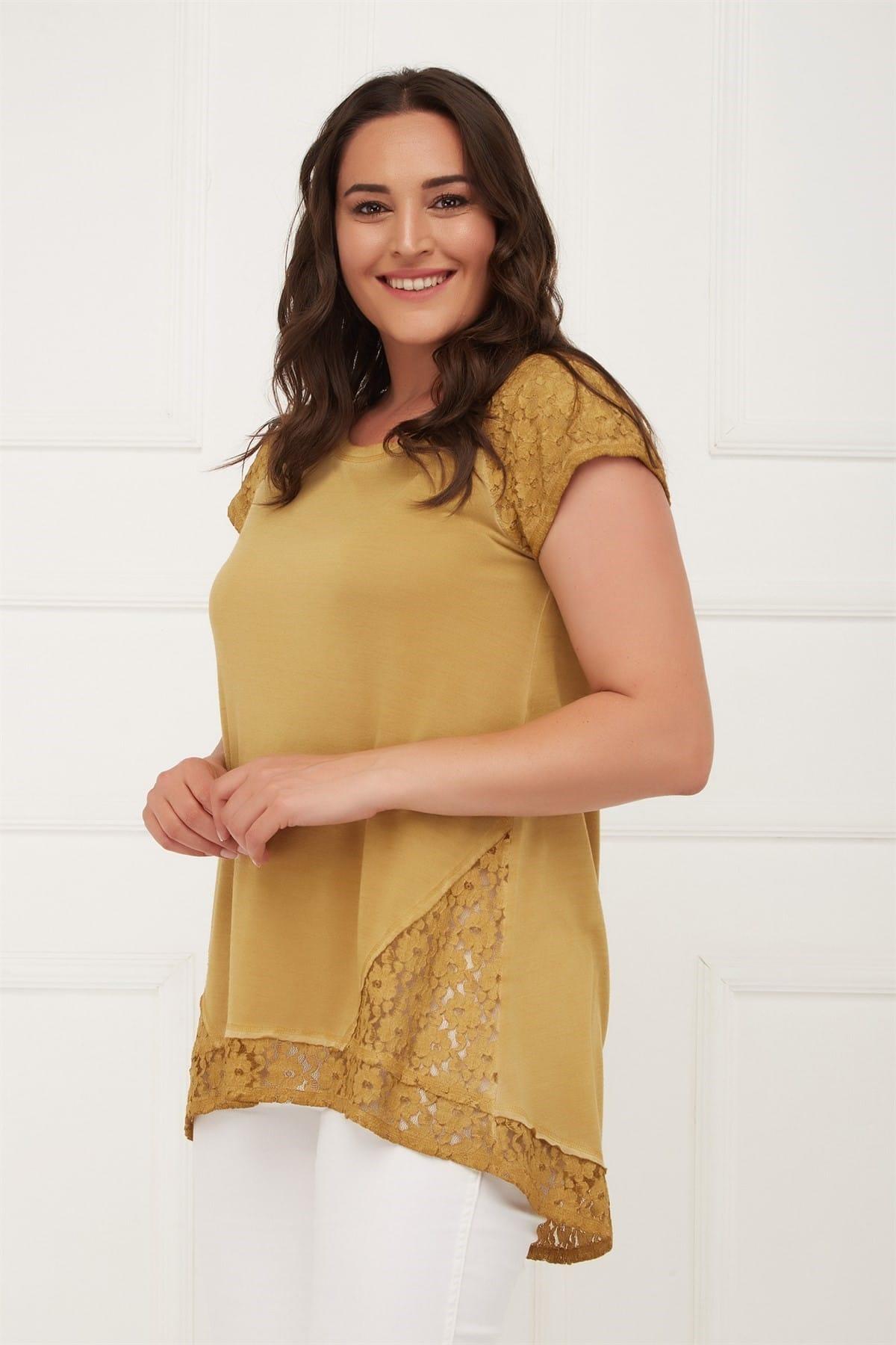 Seamoda Kadın Hardal Kolu Eteği Dantelli Yağ Yıkam Bluz PRA-429793-336415 2