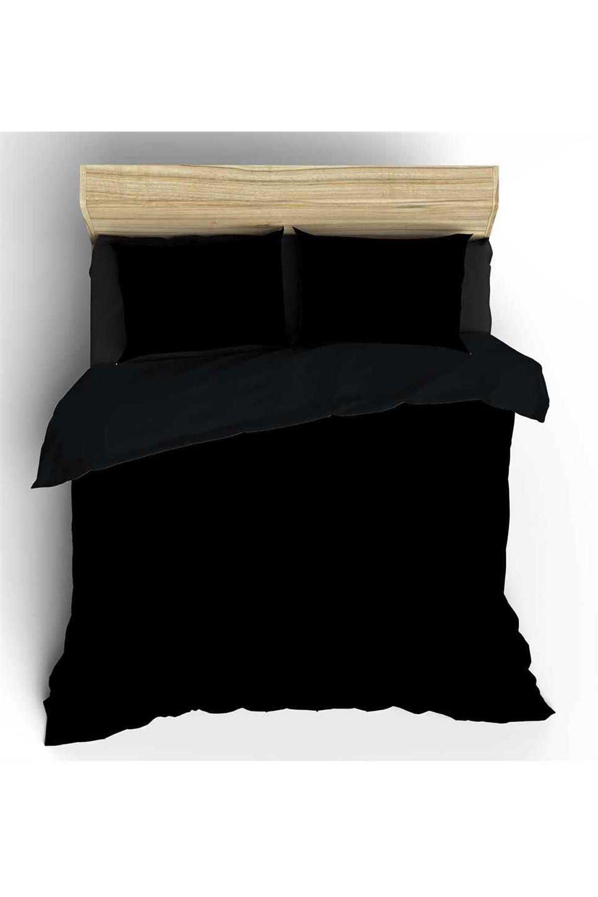 Maki Siyah Maki Pamuk Çift Kişilik Nevresim ve Yastık Kılıfı 1