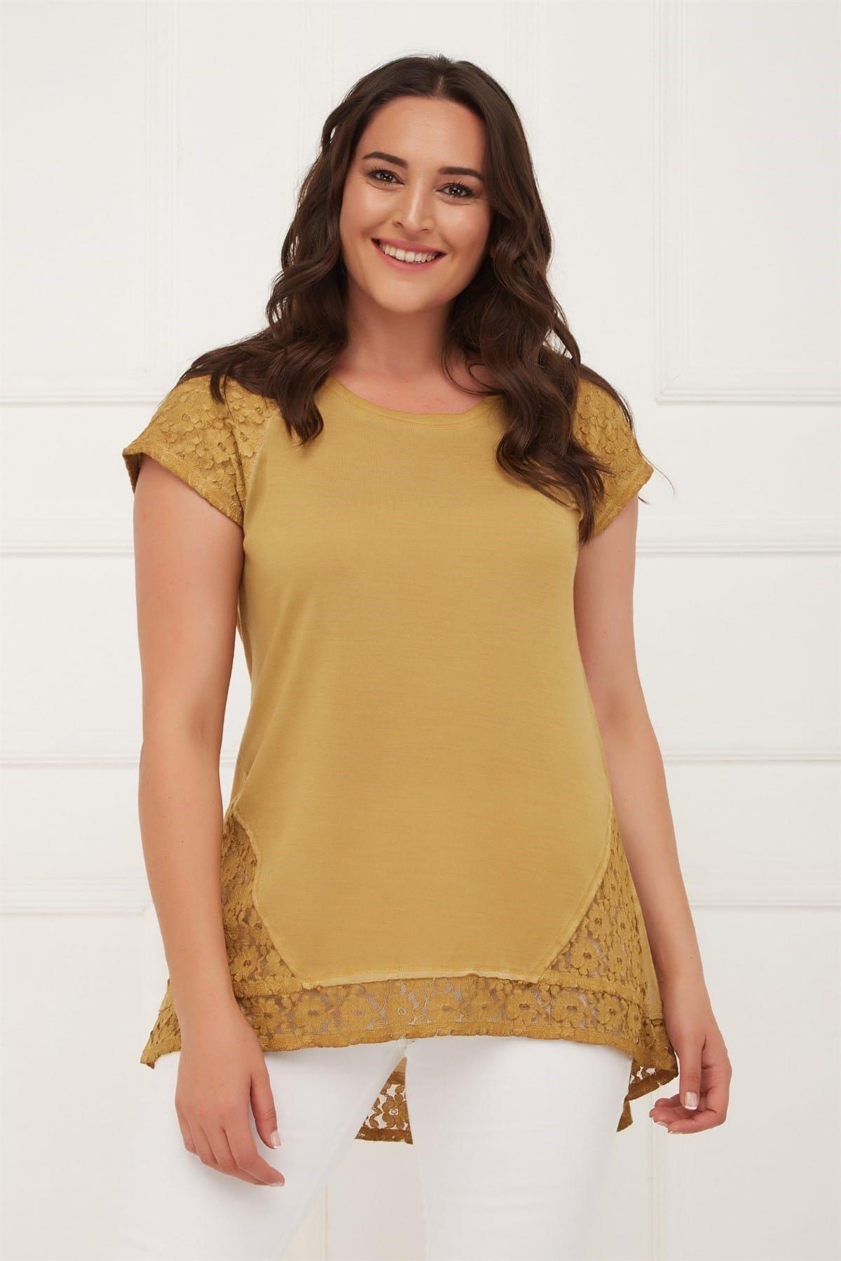 Seamoda Kadın Hardal Kolu Eteği Dantelli Yağ Yıkam Bluz PRA-429793-336415 1