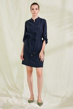 Journey Kadın Lacivert Sıfır Yaka Önden Düğmeli Truvakar Kol Elbise 19YELB100