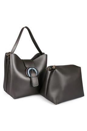 Laura Ashley Kadın Tokalı Çanta Gri