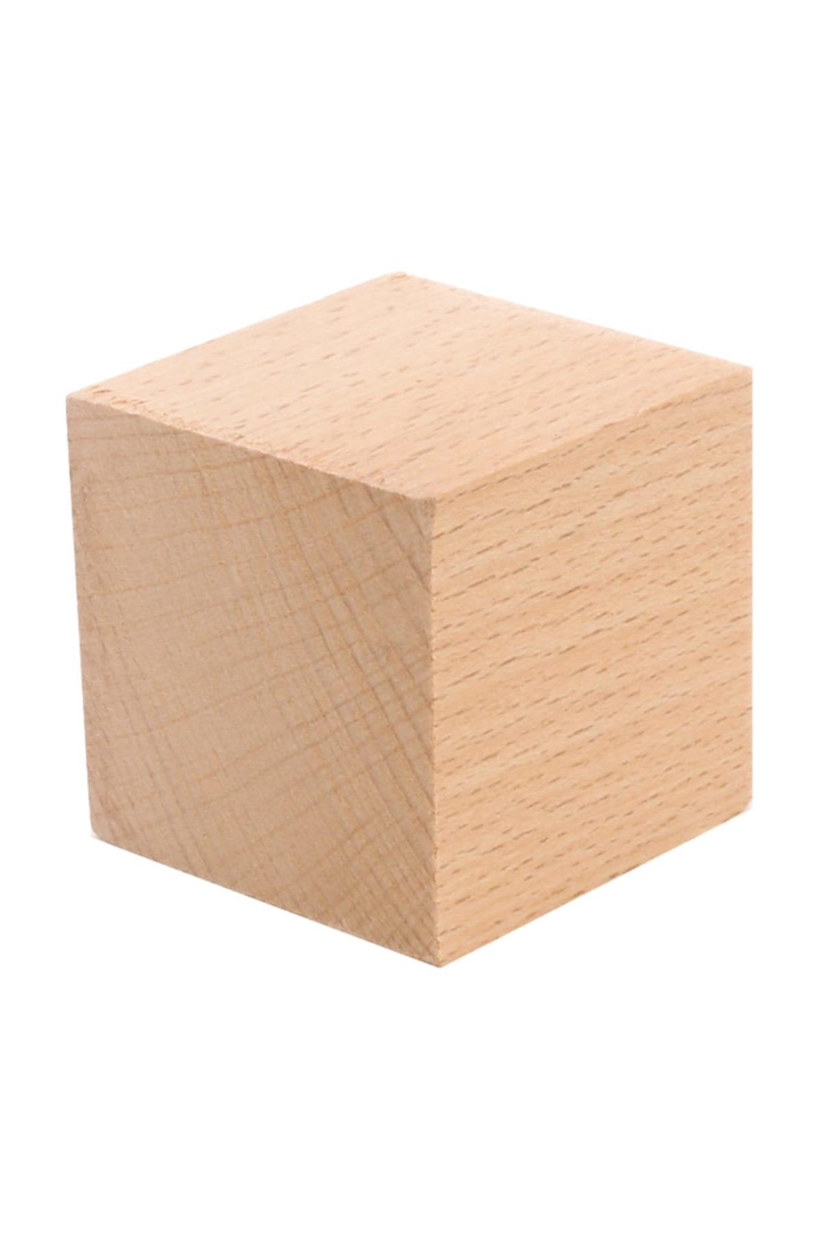 Hobi Dünya Doğal Ahşap Küp Blok 5 cm 3 adet 1