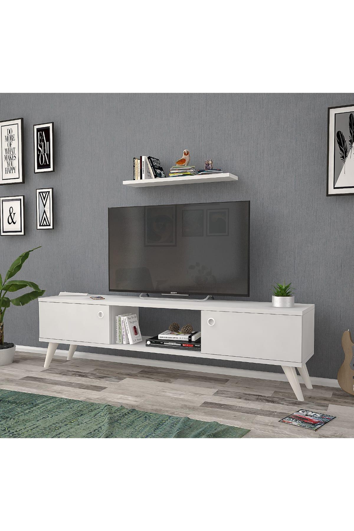 Mbes Mobilya 140 Cm Eda Beyaz Tv Ünitesi 2