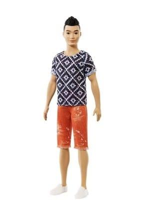 Barbie Ken Fashionistas Bebek Siyah-Beyaz Tişörtlü, Turuncu Şortlu  FXL62-DWK44
