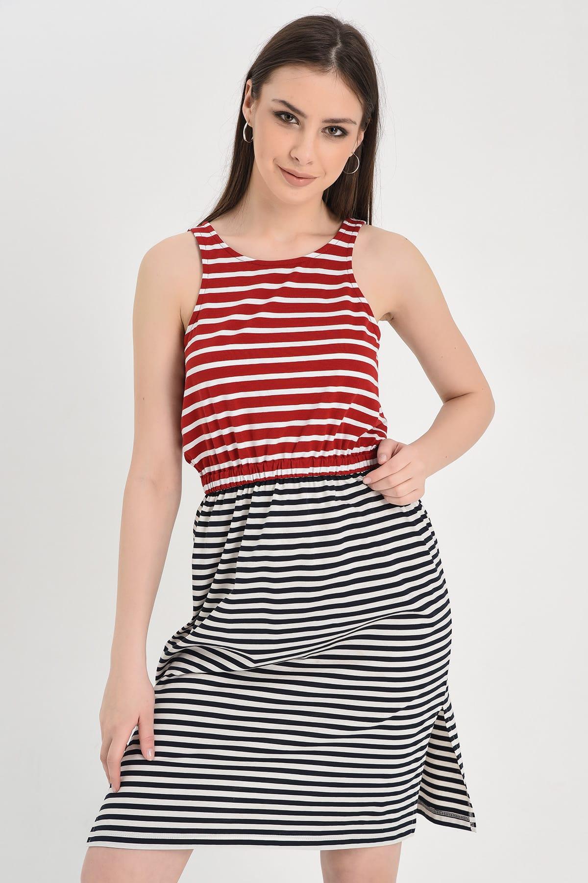 Hanna's by Hanna Darsa Kadın Kırmızı-Siyah Kolsuz Çizgili Beli Lastikli Yırtmaçlı Elbise Hn1284 1