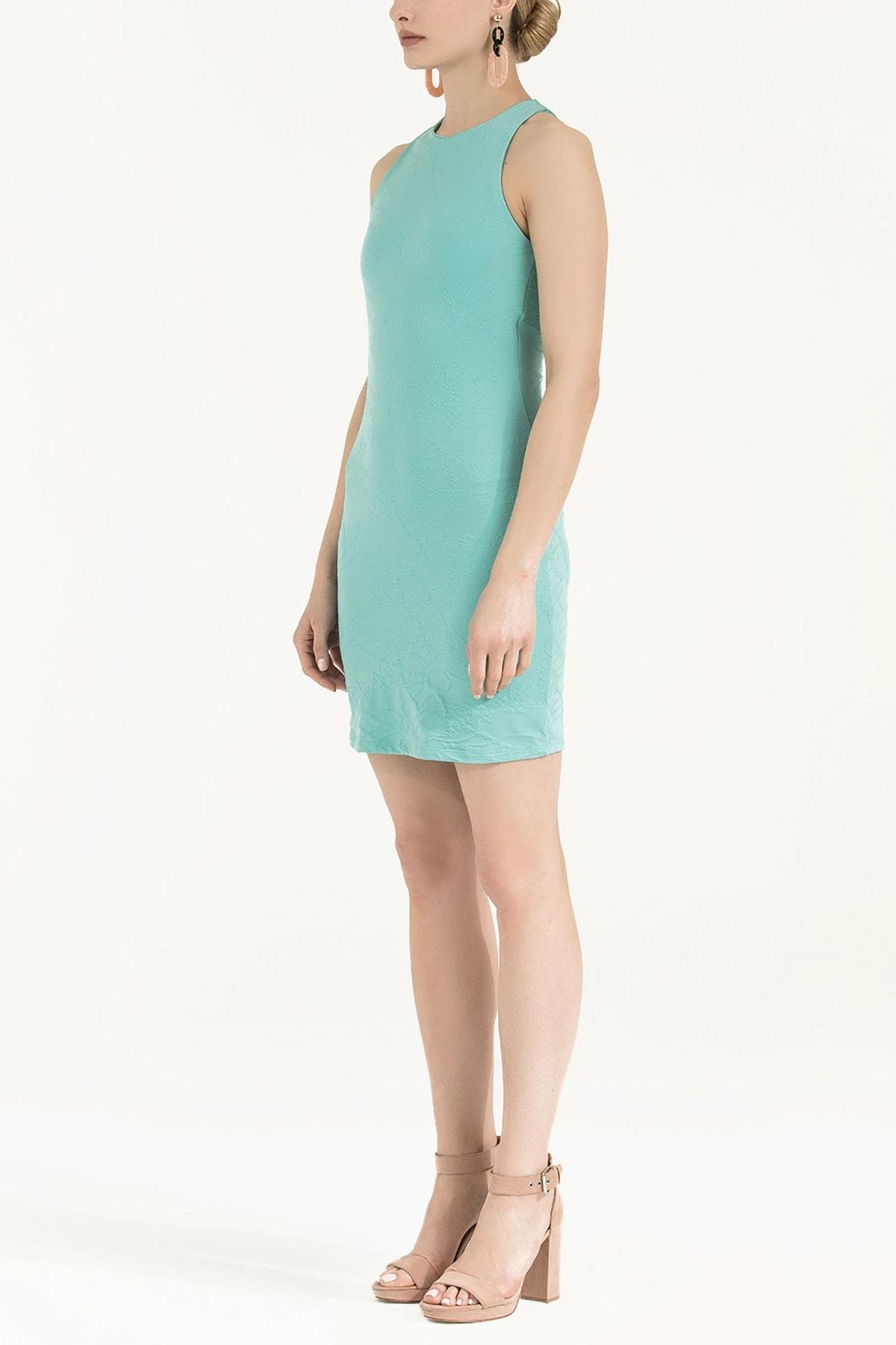 SOCIETA Kadın Örme Mini Elbise Yeşil 91860 2