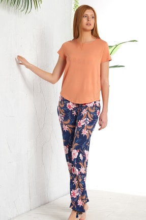 GİZZEY Kadın Oranj Taş Baskılı Pantolon Takım