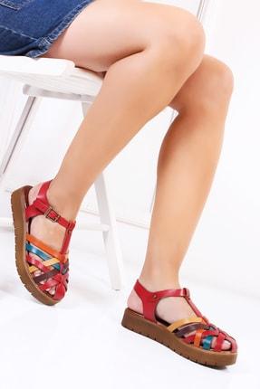 Deripabuc Hakiki Deri Kırmızı Multi Kadın Deri Sandalet Dp-0097