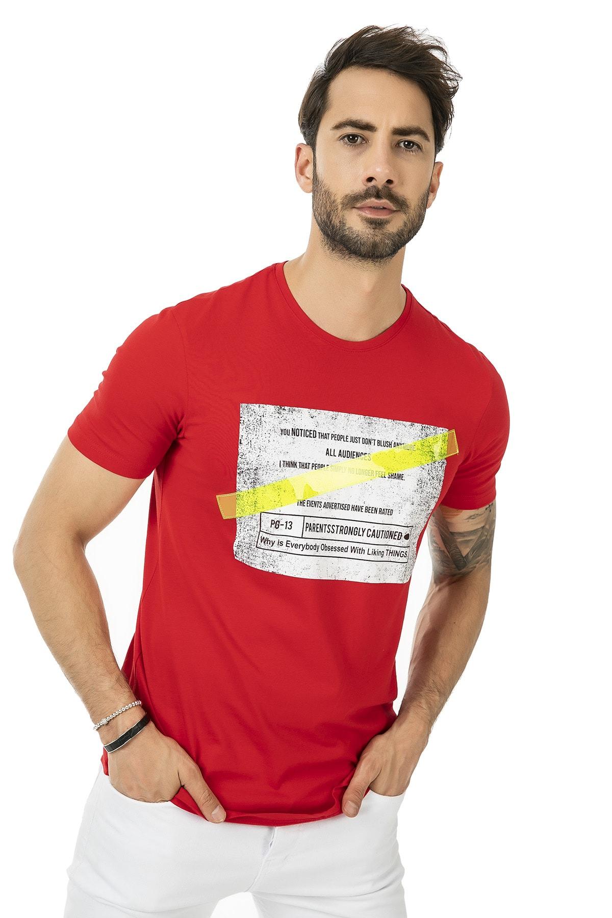 Sateen Men Erkek Kırmızı Kare Baskılı T-Shirt 127-40159 127-40159