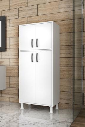 Rani Mobilya F2 Çok Amaçlı Dolap 4 Kapaklı 5 Raflı Banyo Balkon Mutfak Dolabı Beyaz M4