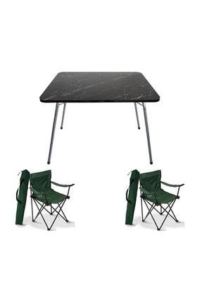 Bofigo 60x80 Granit Katlanır Masa + 2 Adet Kamp Sandalyesi Katlanır Sandalye Piknik Plaj Sandalyesi Yeşil
