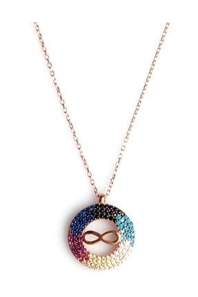 Sahra Renkli Zirkon Süslemeli Sonsuzluk Tasarım 925 Ayar Gümüş Kolye KLY-0066-21