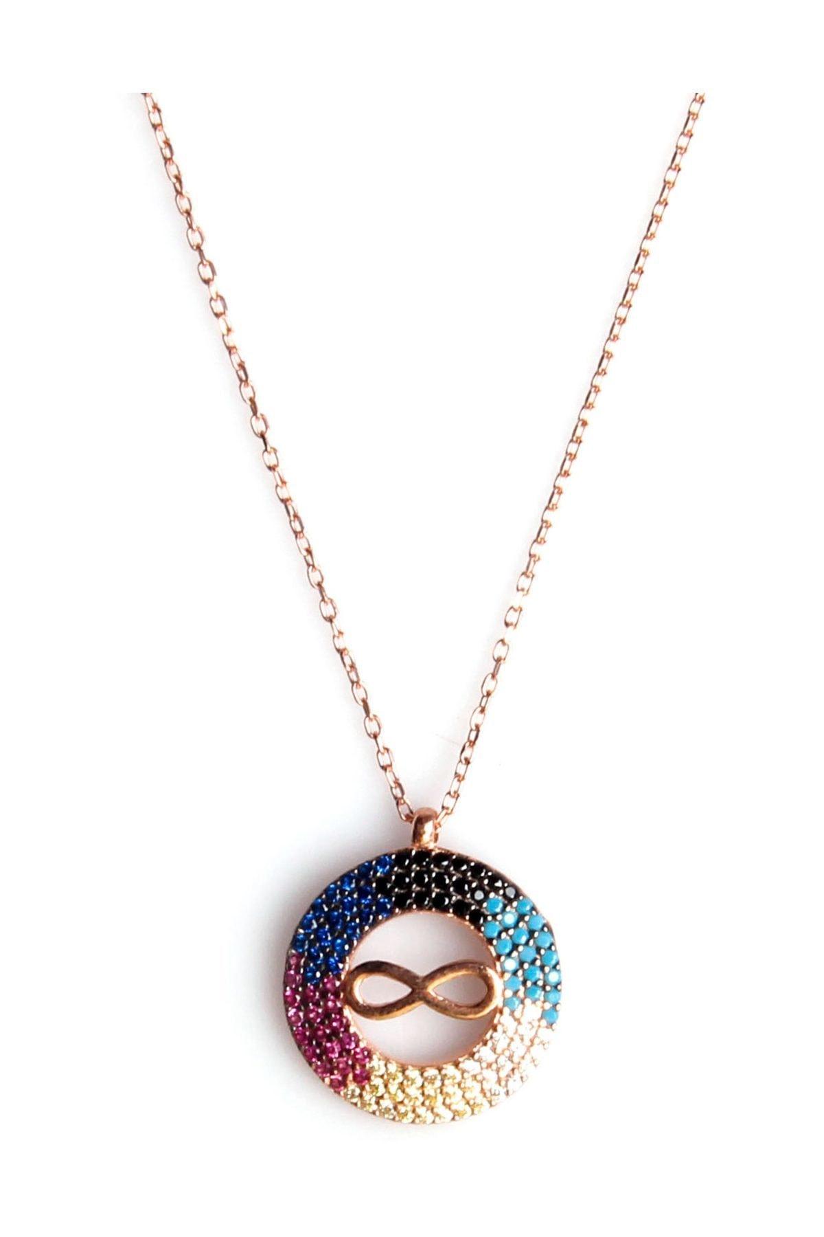 Sahra Renkli Zirkon Süslemeli Sonsuzluk Tasarım 925 Ayar Gümüş Kolye KLY-0066-21 1