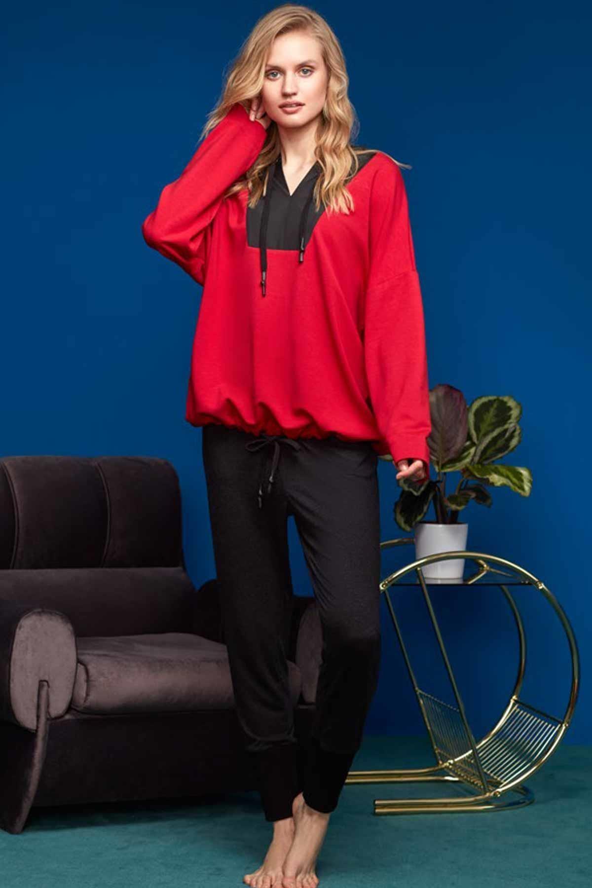 Penyemood Kadın Kırmızı Pijama Eşofman Takımı 8600
