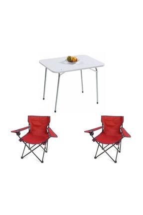 Bofigo 60x80 Katlanır Masa + 2 Adet Kamp Sandalyesi Katlanır Sandalye Piknik Plaj Sandalyesi Kırmızı