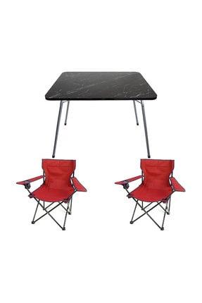 Bofigo 60x80 Granit Katlanır Masa + 2 Adet Kamp Sandalyesi Katlanır Sandalye Piknik Plaj Sandalyesi Kırmızı