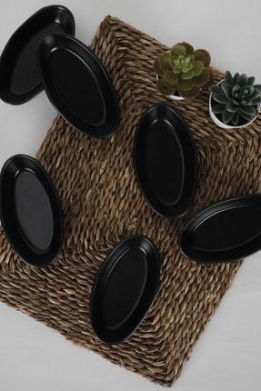 Keramika Mat Siyah Deniz Çerezlik / Sosluk 14 Cm 6 Adet