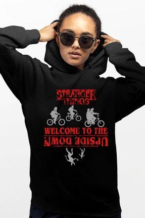 Rock & Roll Bisikletli Stranger Things Siyah Kapşonlu Kadın Sweatshirt