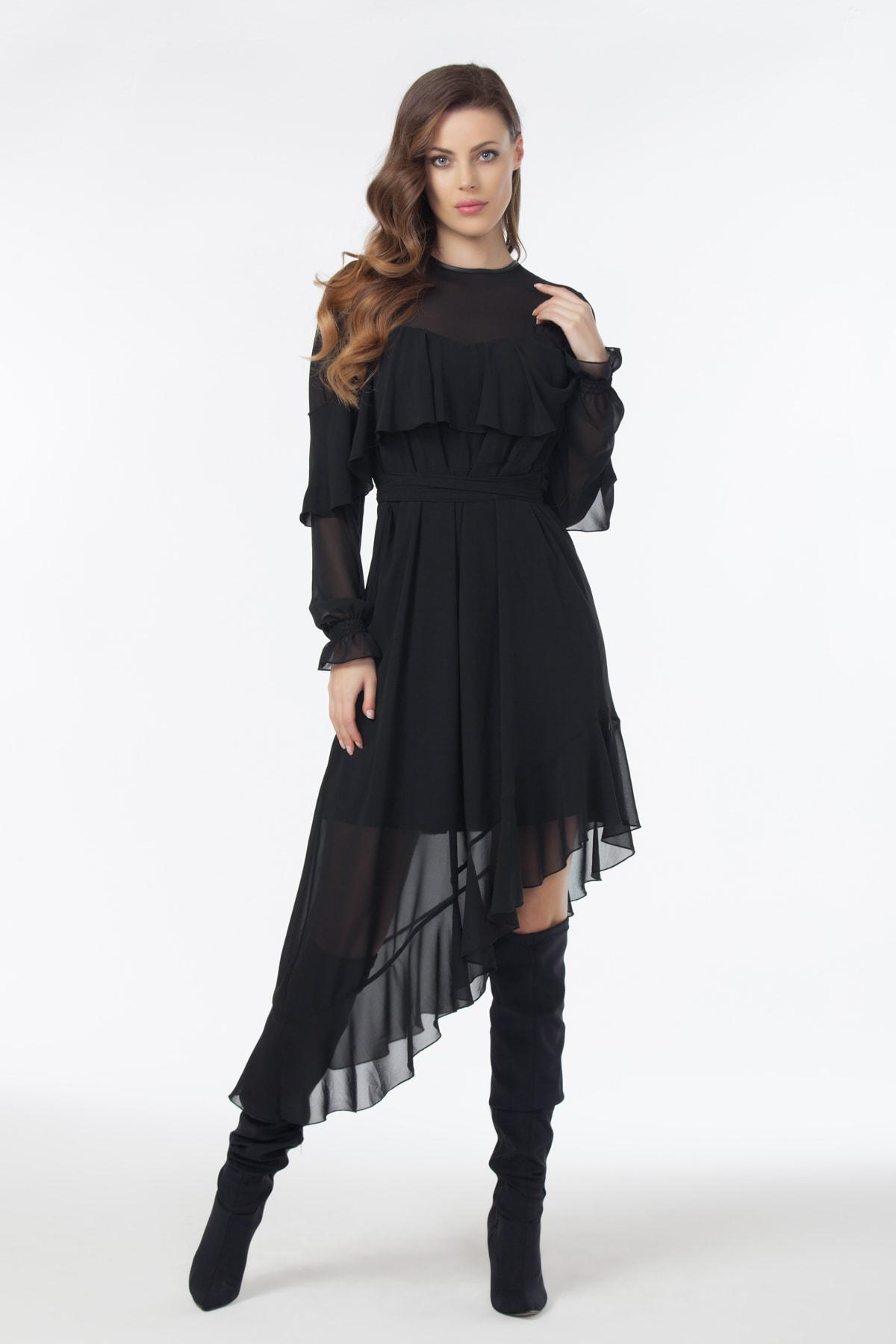 Laranor Kadın Siyah Asimetrik Kesim Şifon Elbise 19L6447 1