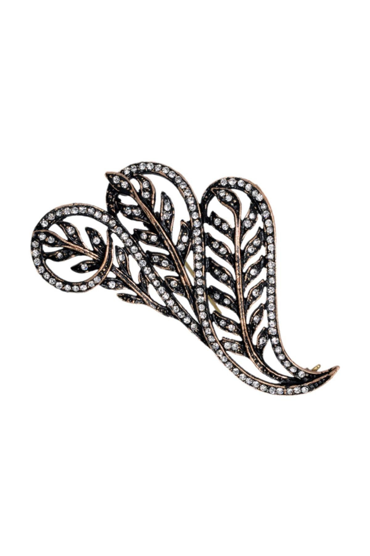 Aşina Gümüş Kadın Yaprak Swarovski Taşlı Elmas Montür Yaka İğnesi Broş 1