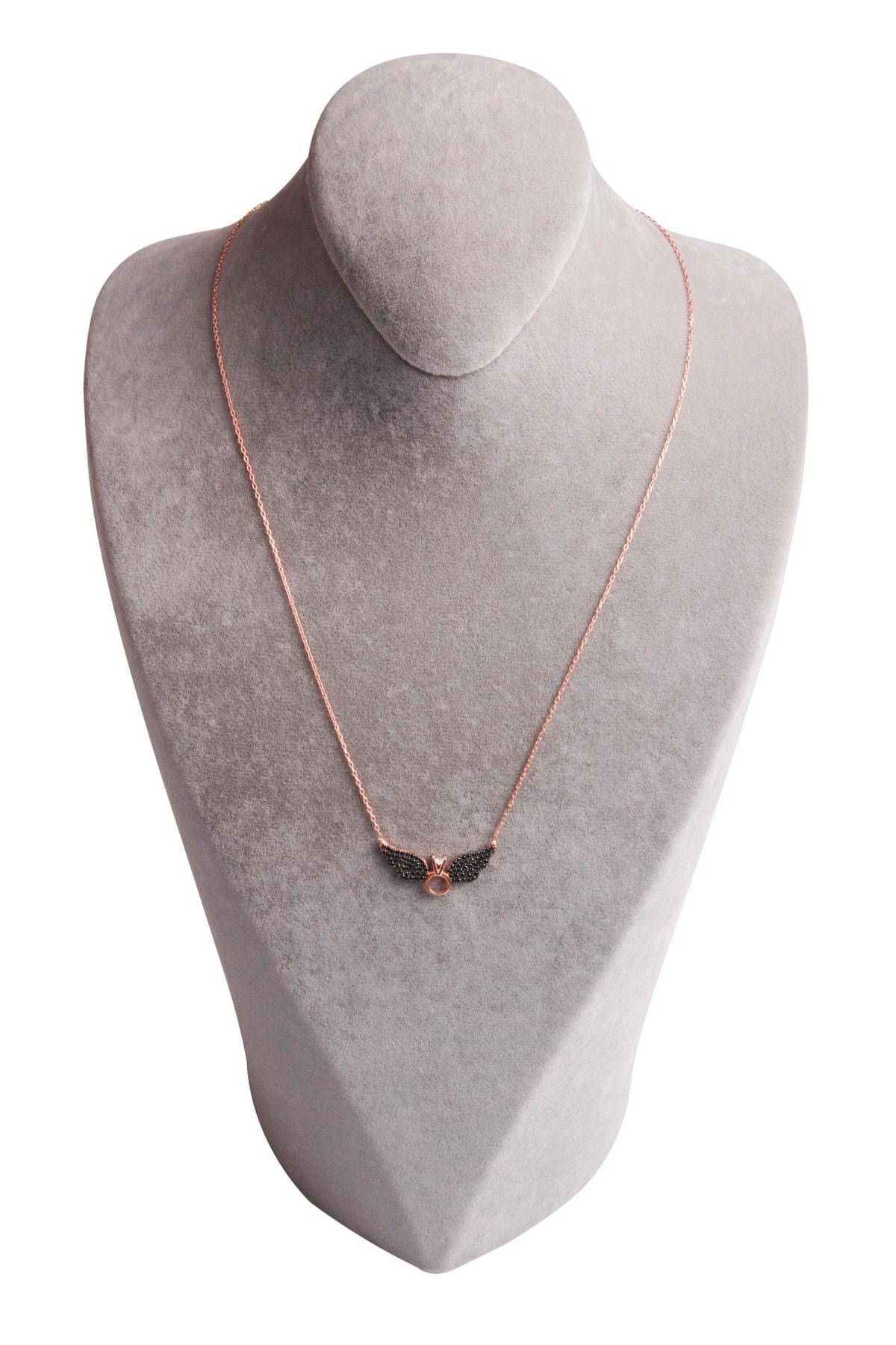 Sahra Kadın Zirkon Süslemeli Tek Taş Kanat Tasarım 925 Ayar Gümüş Kolye KLY-0066-23 2
