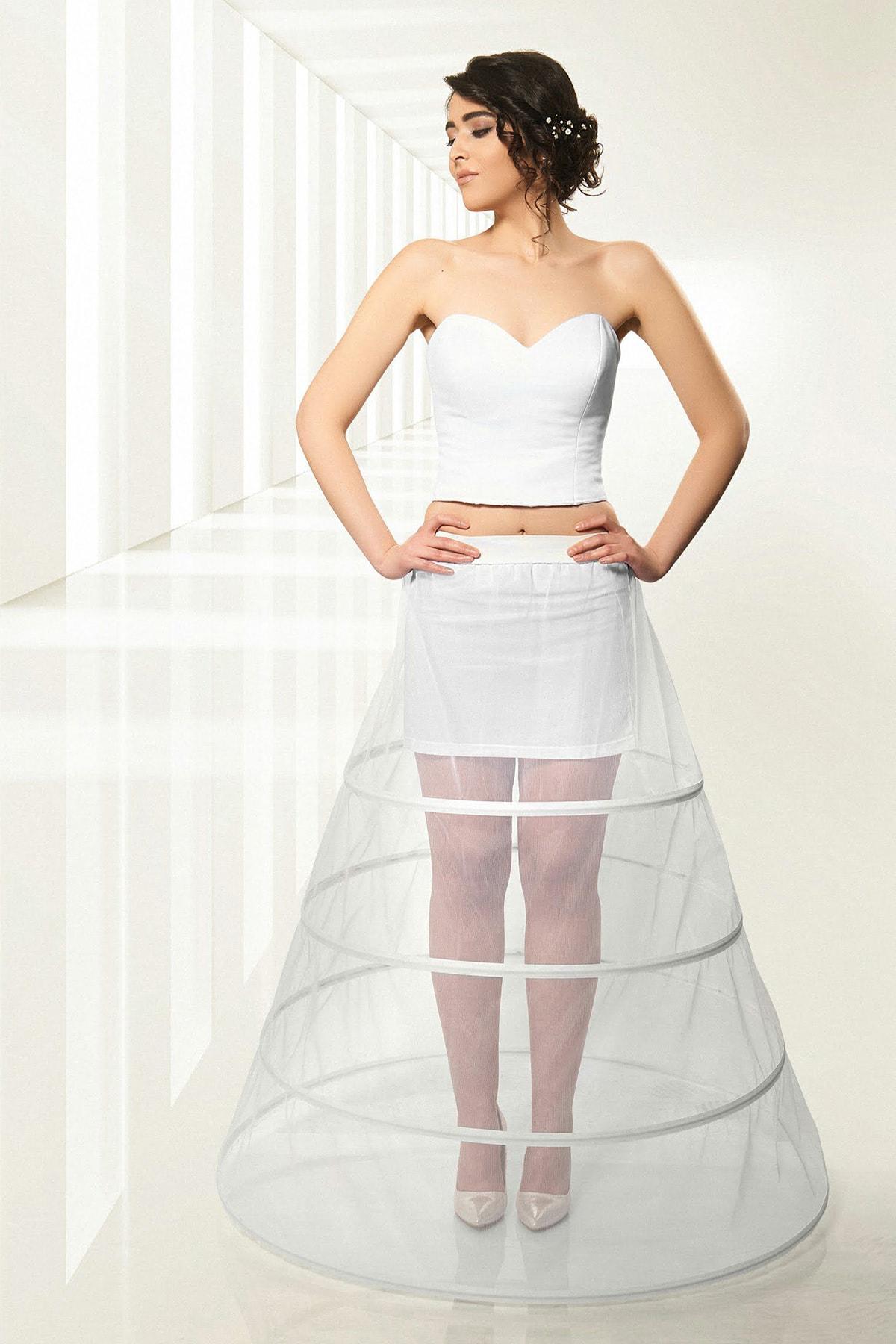 jupon Kadın Kırık Beyaz 4 Telli Farbasız Tarlatan 1004-1