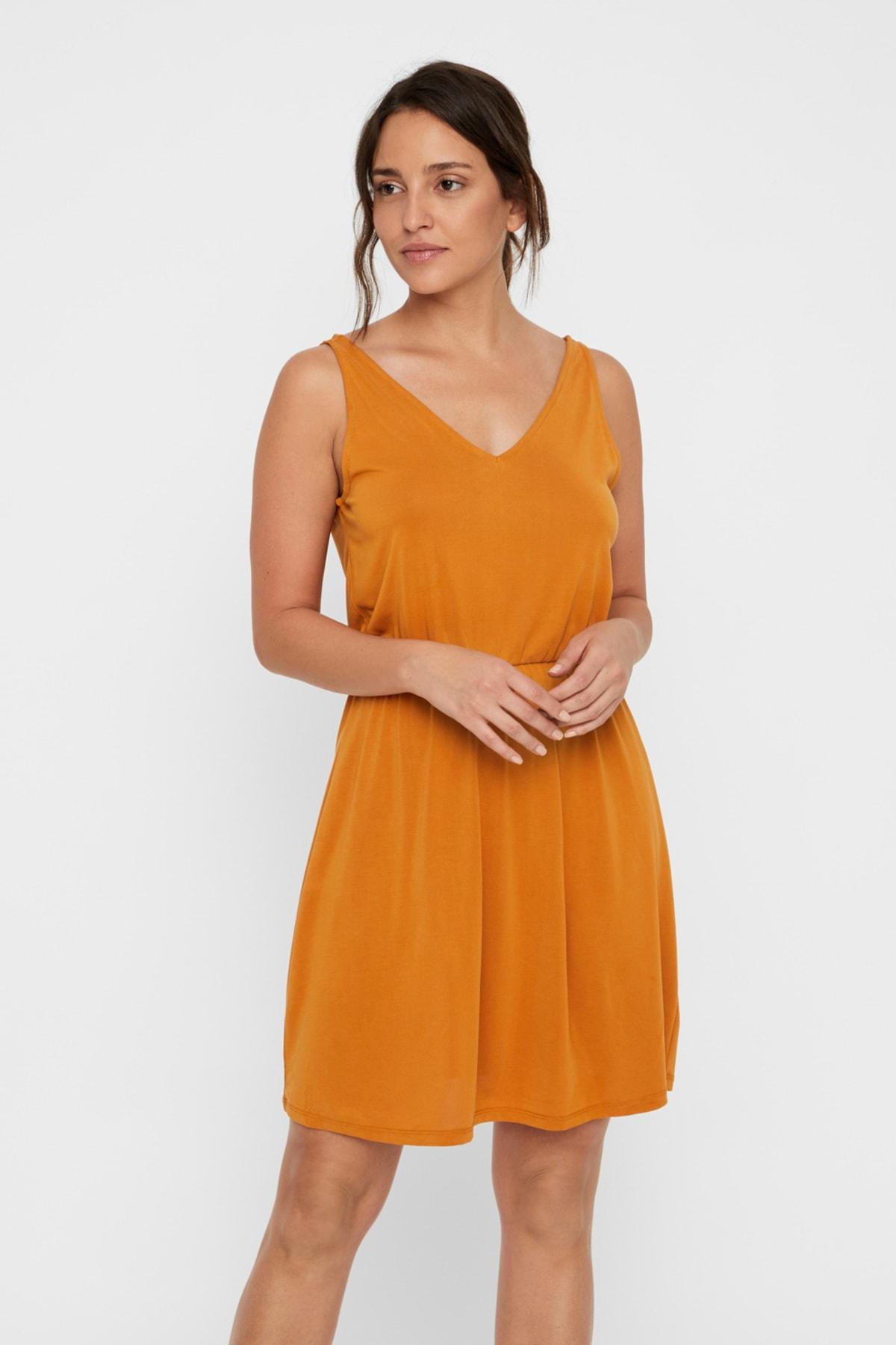 Vero Moda Kadın Taba Elbise 10221798 VMSAGI 1